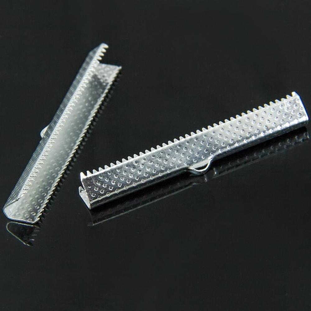 Концевики Зажимы для Лент 45х7мм, Серебро
