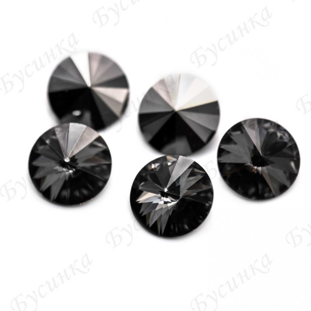 """Стразы Preciosa Риволи """"Black Diamond DF"""" 14мм"""