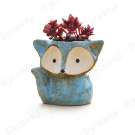 Вазон для цветов и декора Лисёнок 9х11см., Керамика, глазурь
