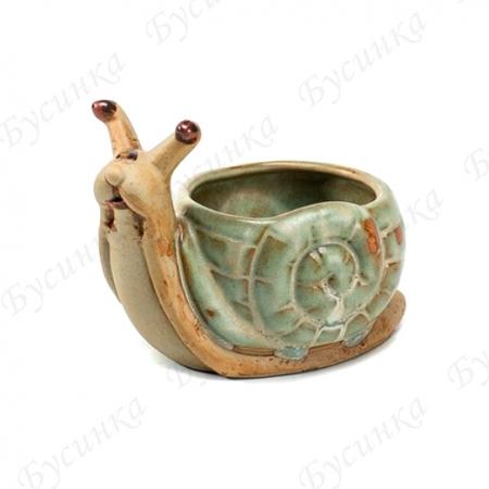 Вазон для цветов и декора Улитка 10х7см., Керамика, глазурь