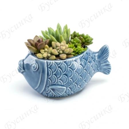 Вазон для цветов и декора Рыбка 12х6см., Керамика, глазурь