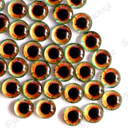 """Глазки кабошон стекло """"Живые"""", кругл. 10мм, Янтарно-зеленые"""