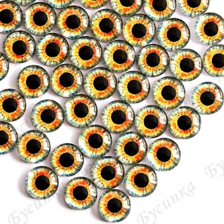 """Глазки кабошон стекло """"Живые"""", кругл. 10мм, Янтарно-серые"""