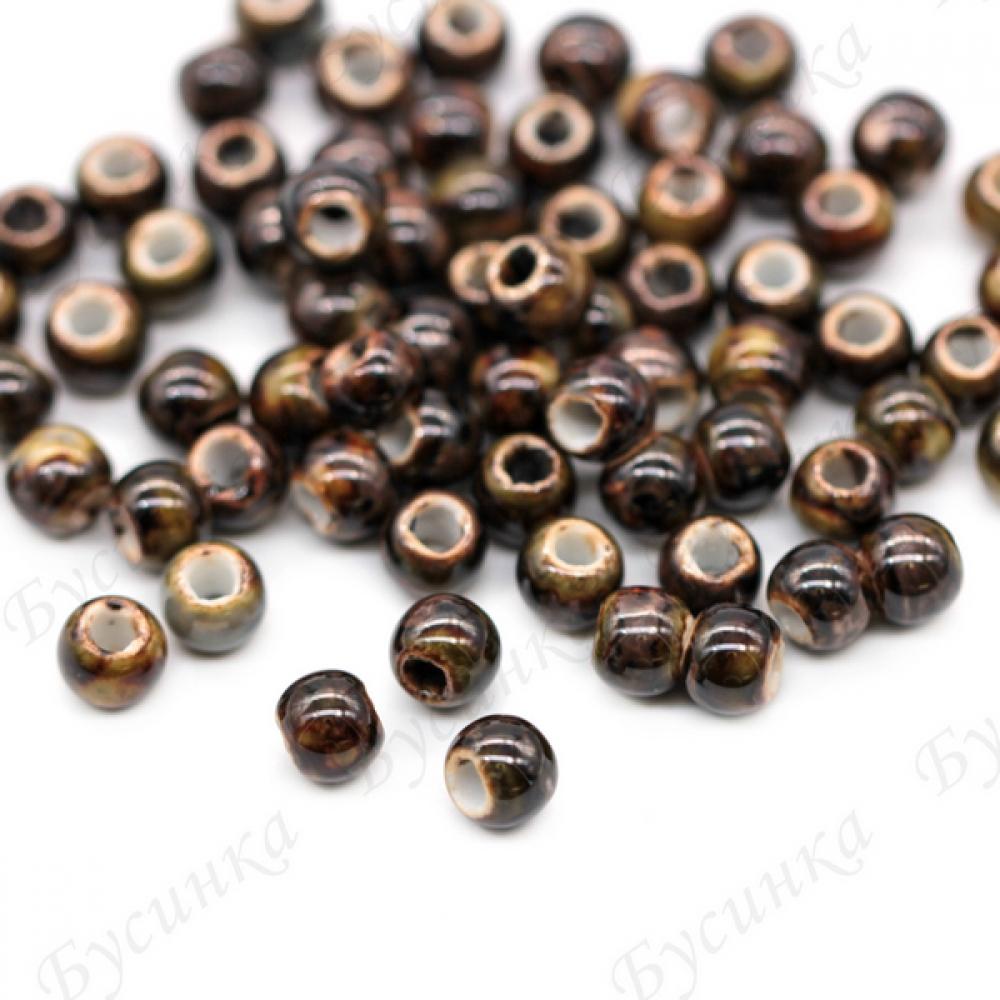 Бусины Керамические круглые глазурь 6 мм. Цвет: Хакки