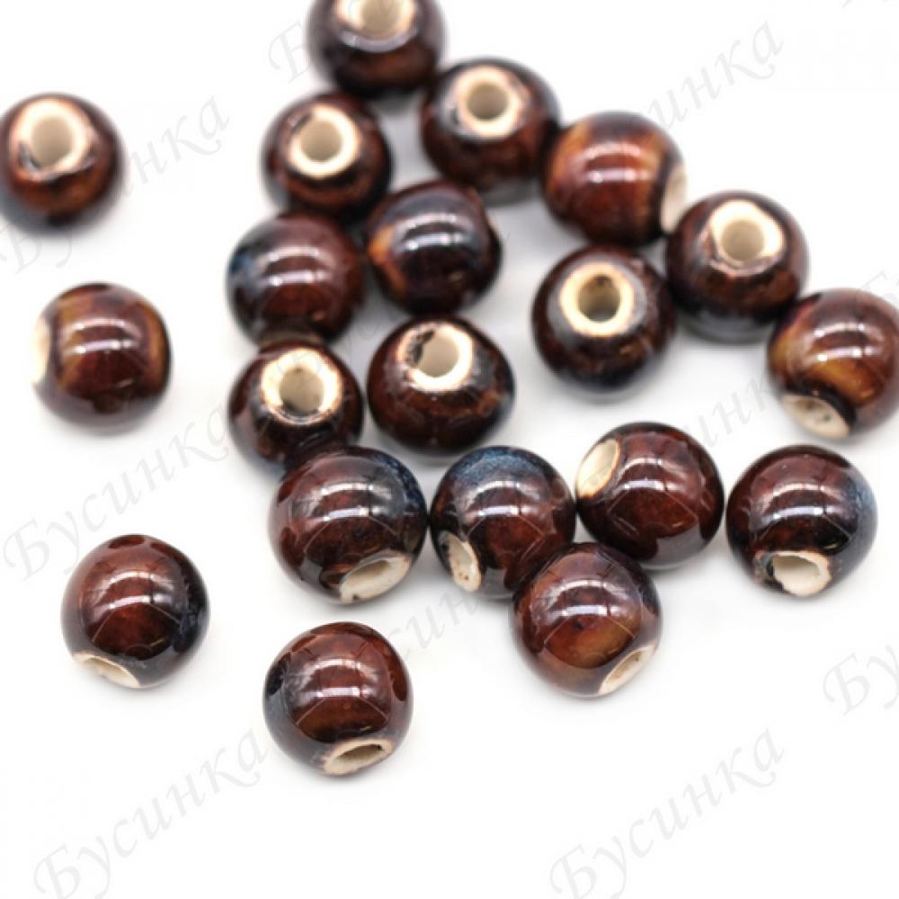 Бусины Керамические круглые глазурь 10 мм. Цвет: Коричнево-сизый
