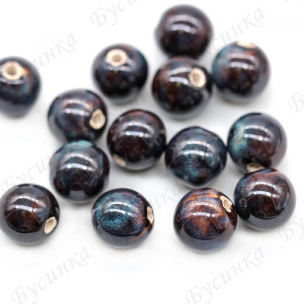 Бусины Керамические круглые глазурь 16 мм. Цвет: Коричнево-сизый