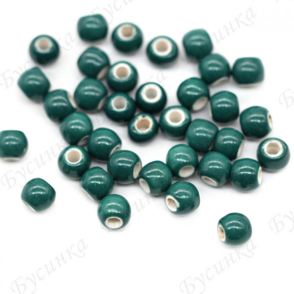 Бусины Керамические круглые глазурь 7 мм. Цвет: Изумрудный