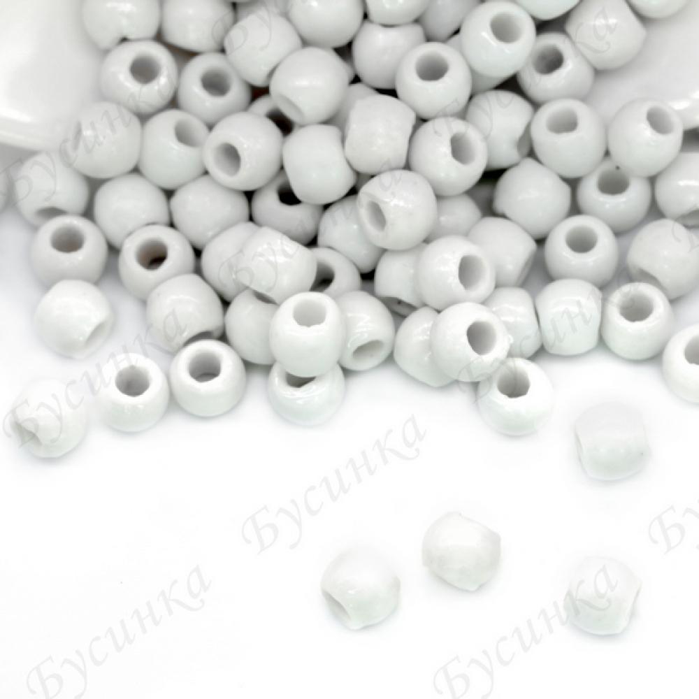 Бусины Керамические круглые глазурь 6 мм Белый