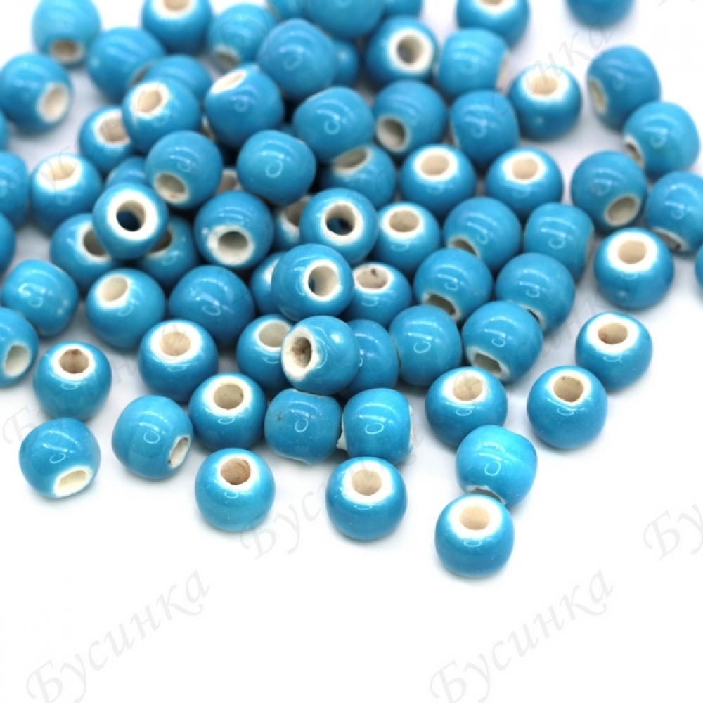 Бусины Керамические круглые глазурь 6 мм Голубой