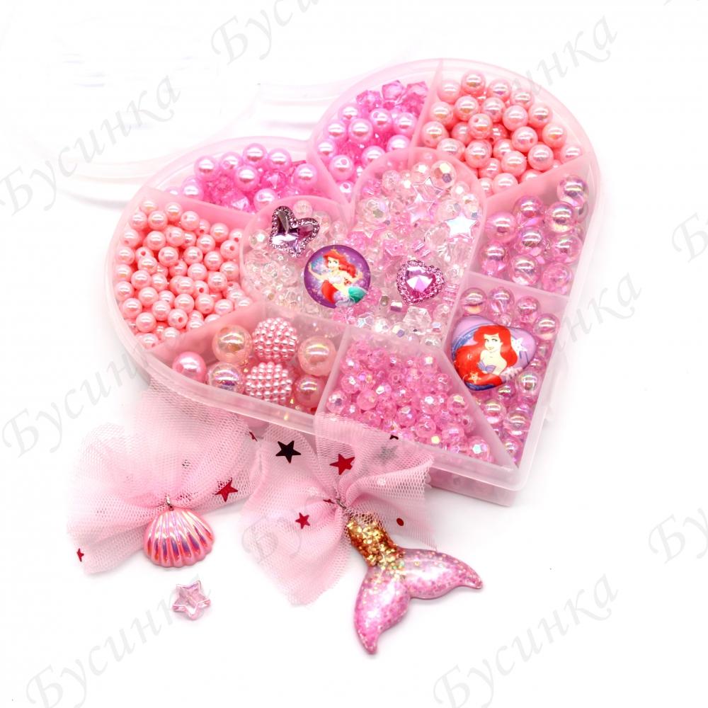 """Набор бусин """"Русалочка"""" с кулонами и кристаллами для детского творчества"""