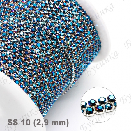 Стразовая Цепь Латунь, Ксталл Джинс-Гальваника, ss10 (2,9 мм.), Серебро 10 см.