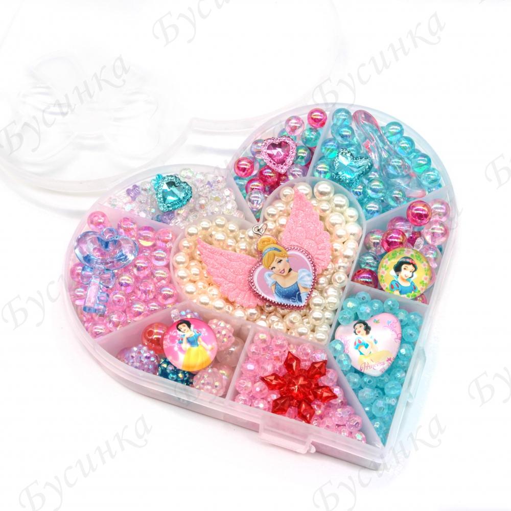 """Набор бусин """"Золушка"""" с кулонами и кристаллами для детского творчества"""
