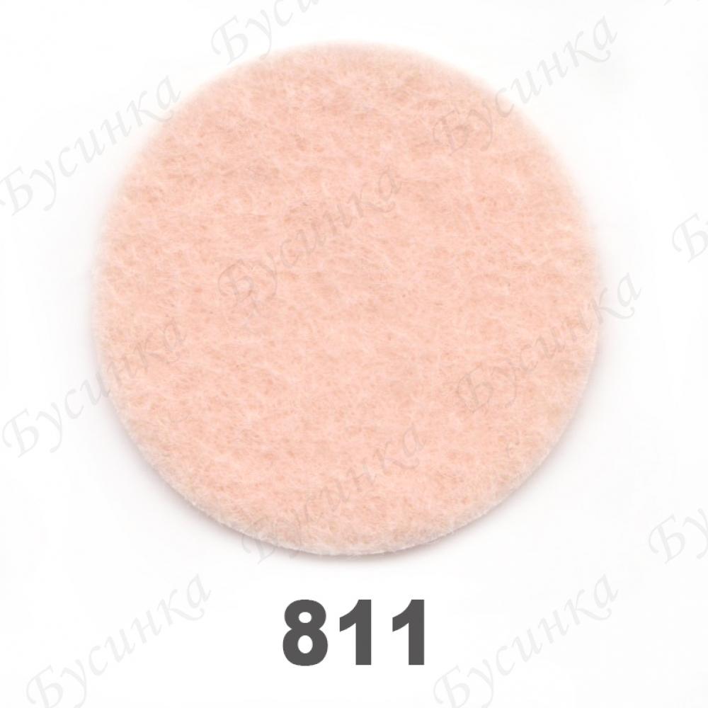 Фетр листовой жесткий 1,2 мм. 22х30 см. Корея Цвет-811 Персиковый