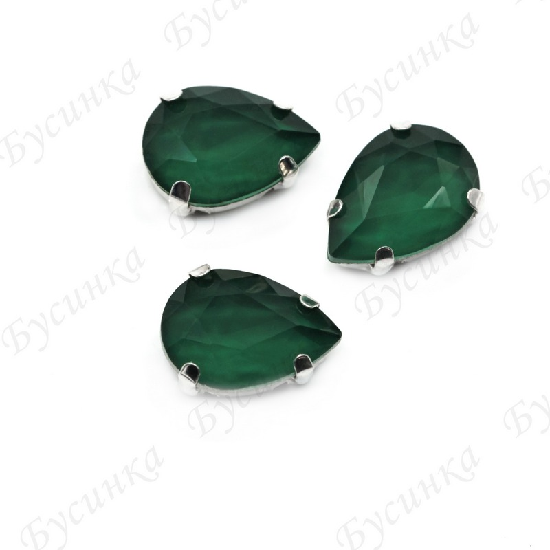 """Стразы Лаковые в цапах Капля """"Emerald"""" 10x14 мм"""