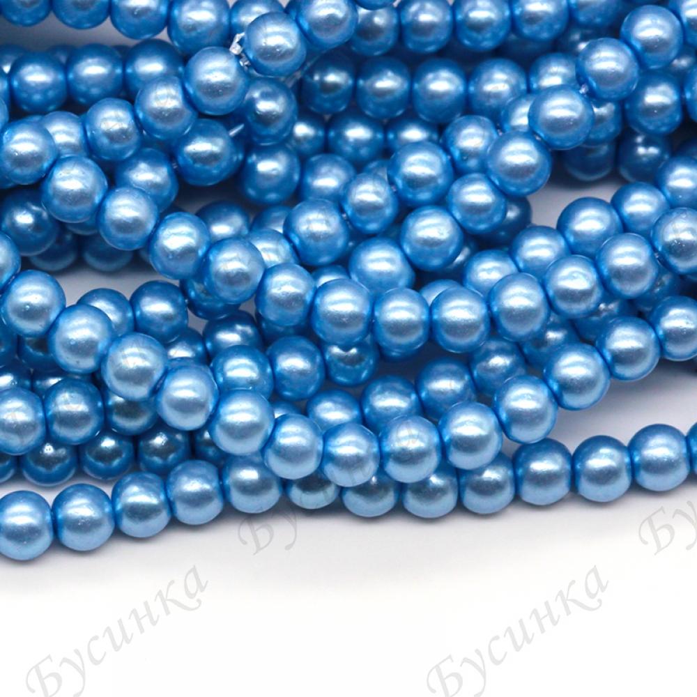Жемчуг стекло глянец кругл 3 мм, Голубой, 5 гр.~118 шт.