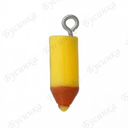 Бусины Карандаш акриловые 22х7 мм., Цвет: Желтый