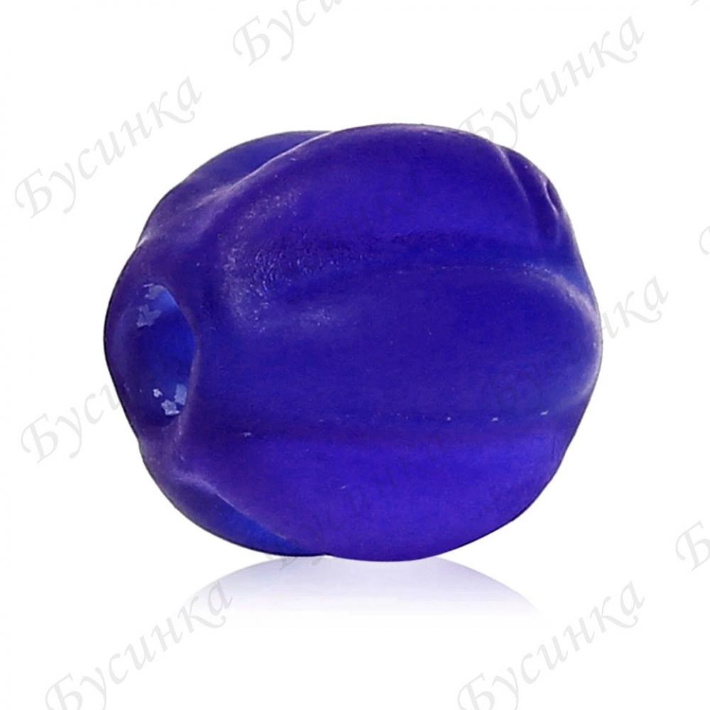 Бусины, стекло Lampwork в форме тыквы 8х8мм, матовый Синий