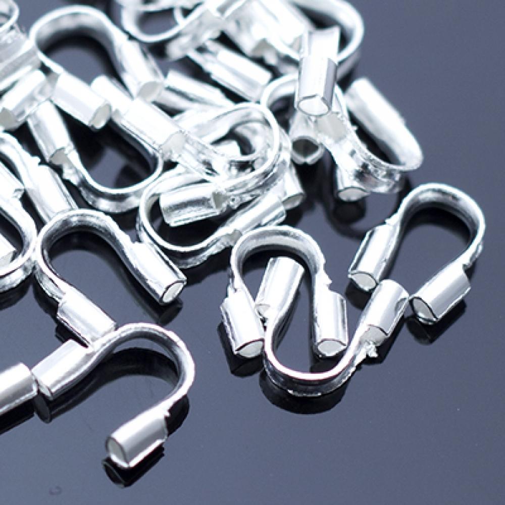 Зажимы протектор для проволоки Латунь 5х4х1мм Серебро