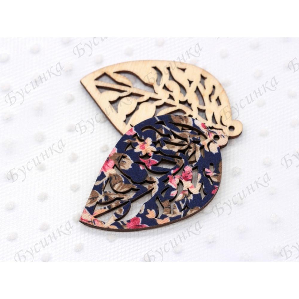 Декор топпер Лист прорезной 40х62мм., Дерево текстиль джинсово-розовые цветы