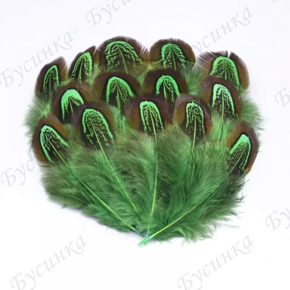 Перо окрашенное для декорирования, Зелен. 4-8 см. 10шт.