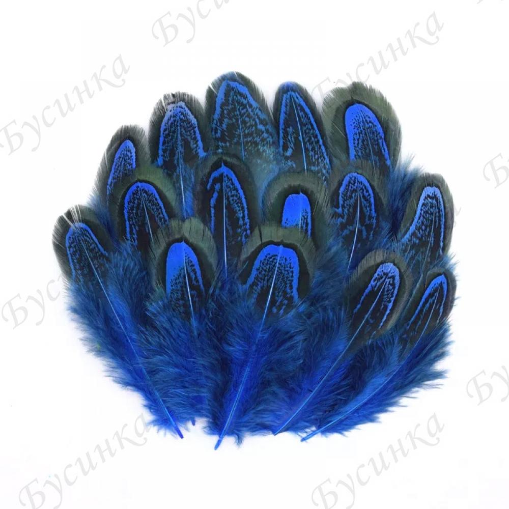 Перо окрашенное для декорирования, Синий. 4-8 см. 10шт.
