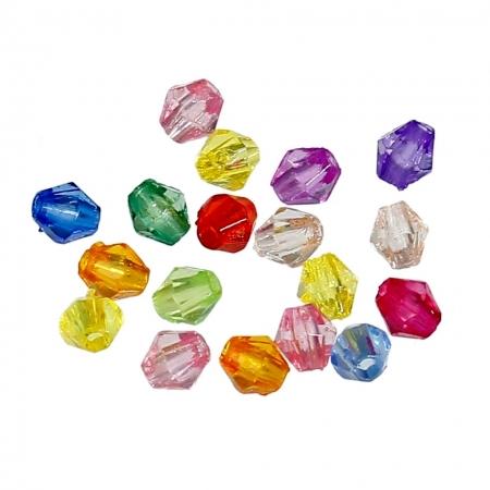 Бусины акриловые граненые Биконус 4х4 мм., Цвет: Разноцветные ~5гр.~200 шт.