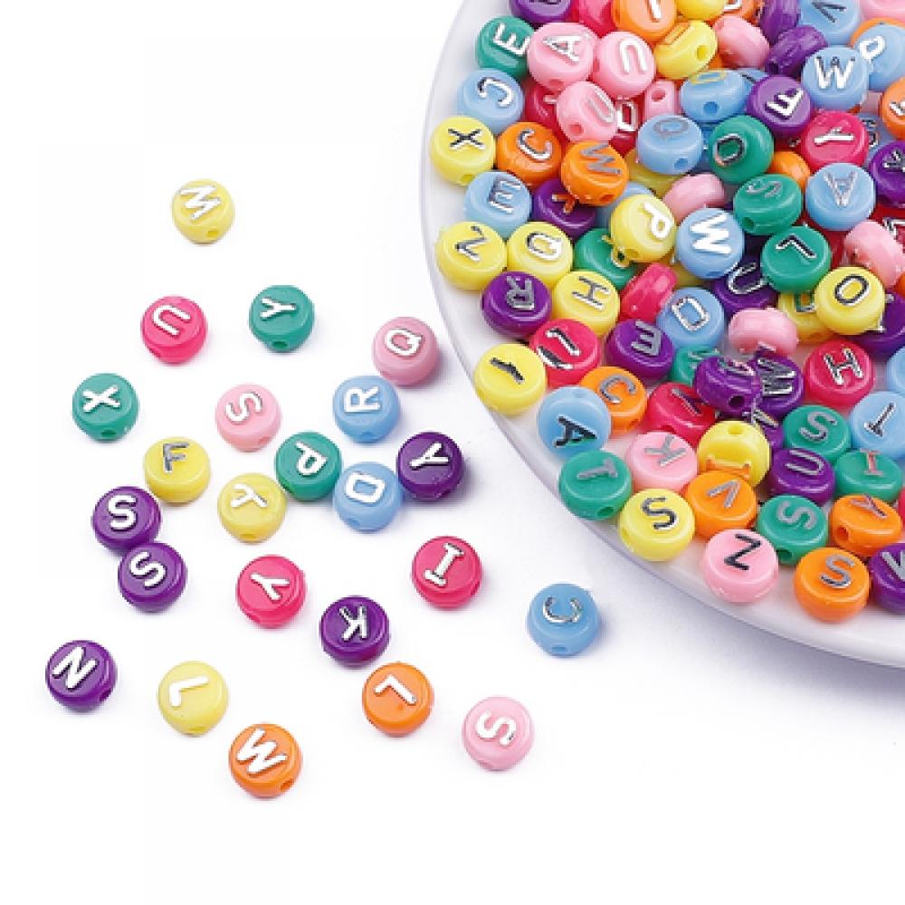 Бусины акрил алфавит Круглые плоские10х6мм Цветные серебрист. буквы