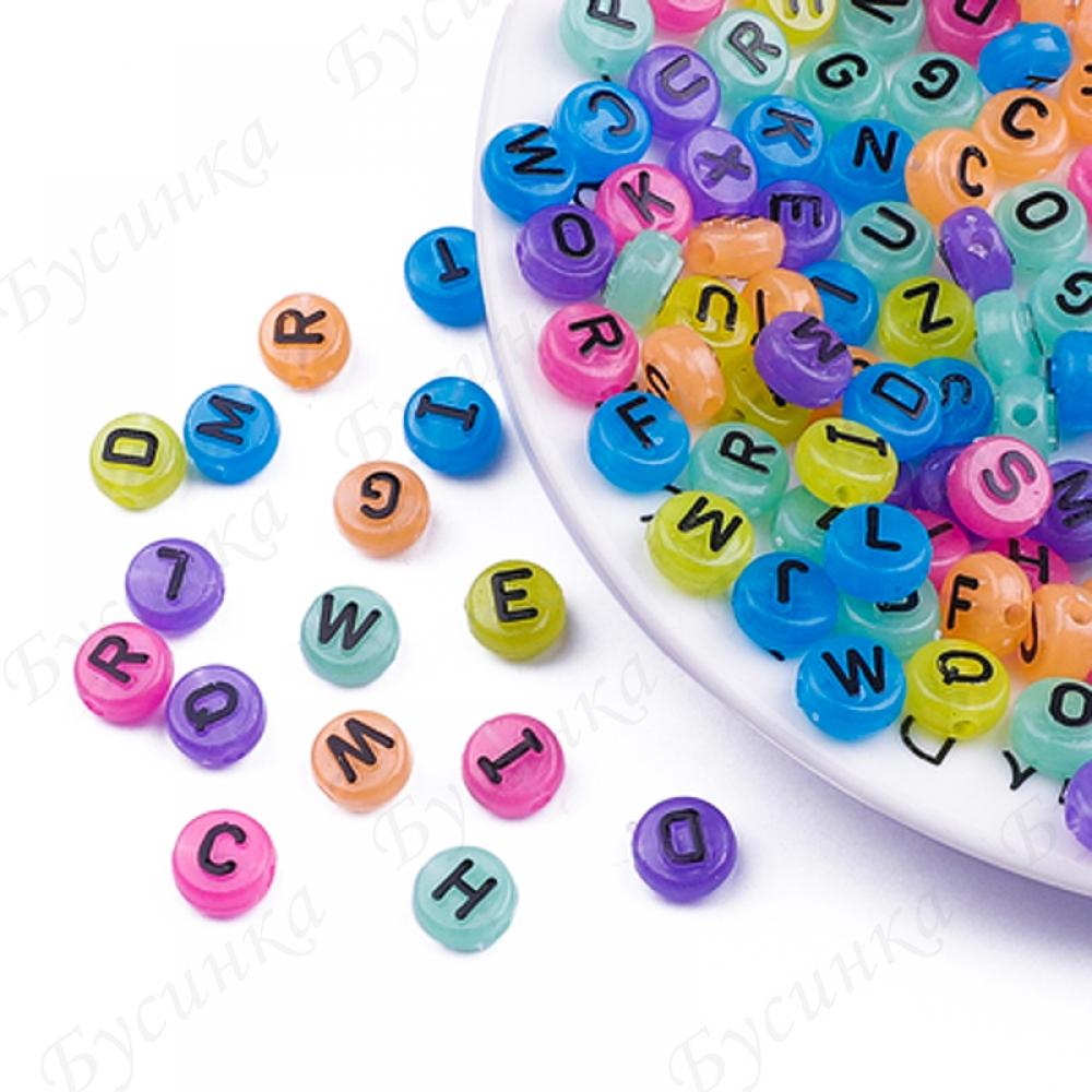 Бусины акрил алфавит Круглые плоские10х6мм Цветные черные. буквы