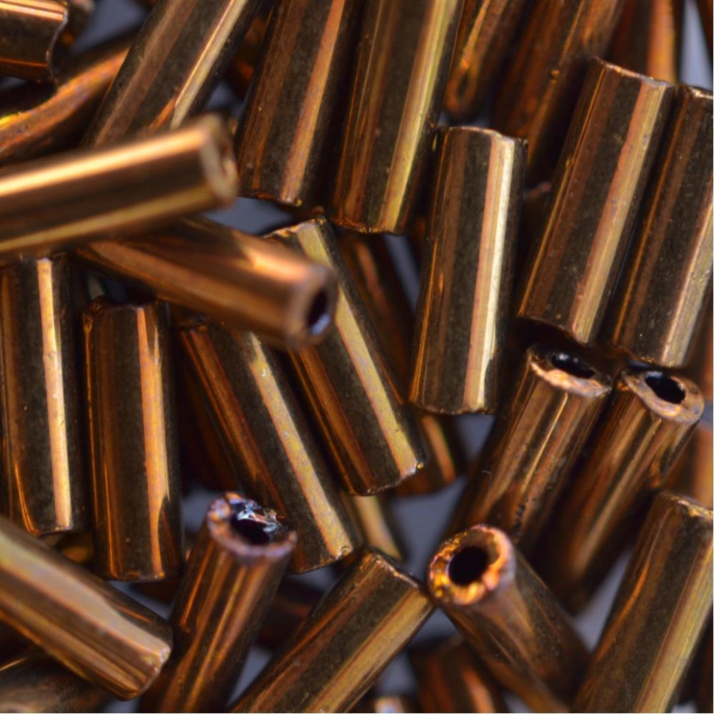 Бисер Preciosa 12/0 Стеклярус,  цв. 59145 Прозрачный Золотисто-Коричневый