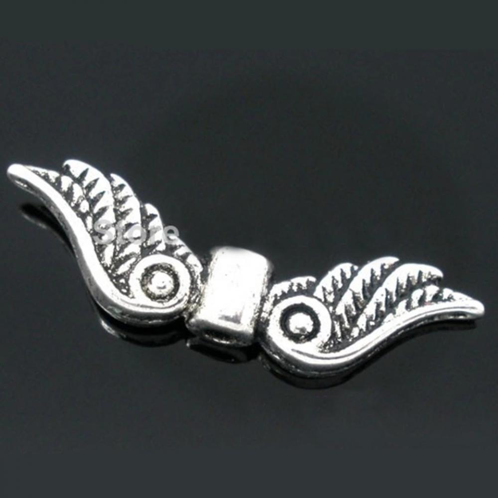 Бусины разделители мет. Крылья 23х7мм Античное Серебро