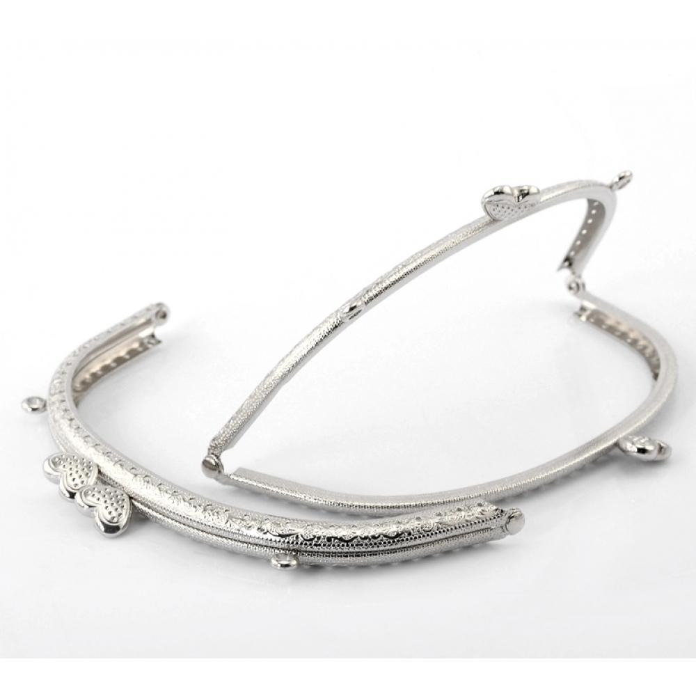 Застежка - Фермуар для сумок/кошелька 165х85мм., Цвет: Серебро
