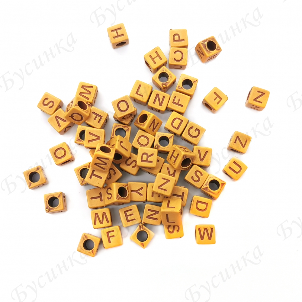 Бусины акрил под Дерево алфавит Микс Кубики 6х6х6мм Коричневый