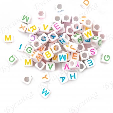 Бусины акрил алфавит разноцветн. Кубики 6х6х6мм Белый