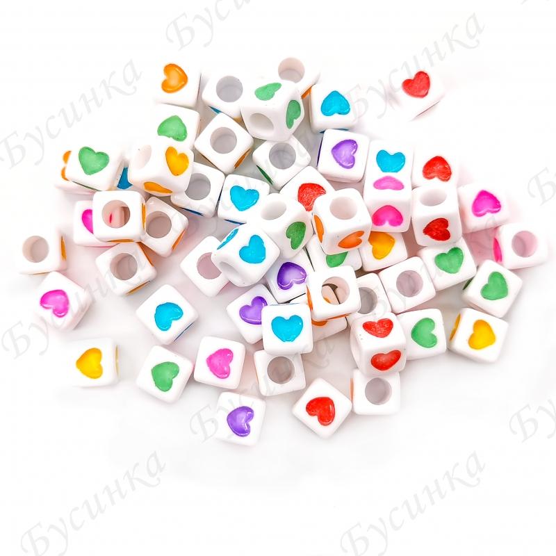 Бусины акрил сердечки разноцветн. Кубики 6х6х6мм Белый