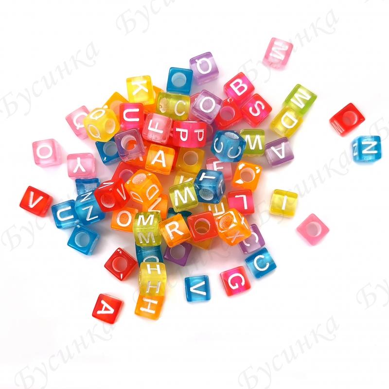 Бусины акрил алфавит полупрозрачный разноцветный Микс Кубики 6х6х6мм