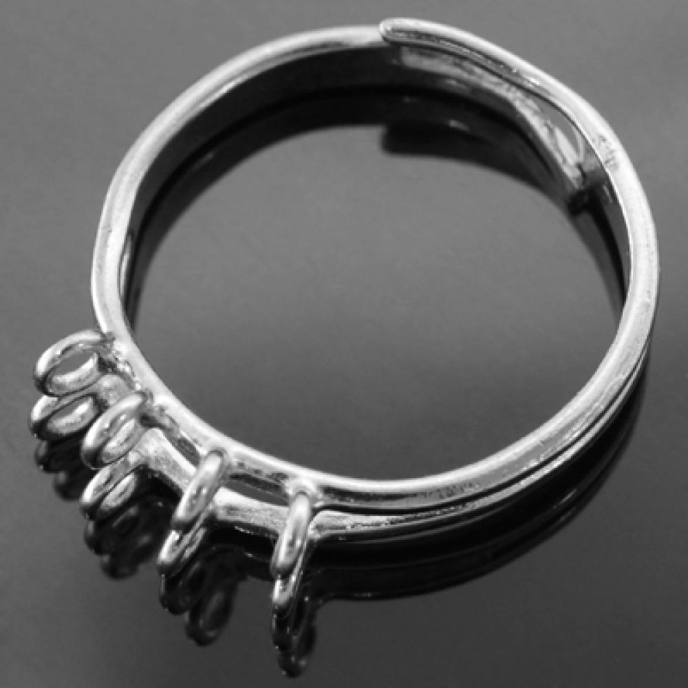 Основа для кольца Латунь с 8 Петельками 19мм, Платина