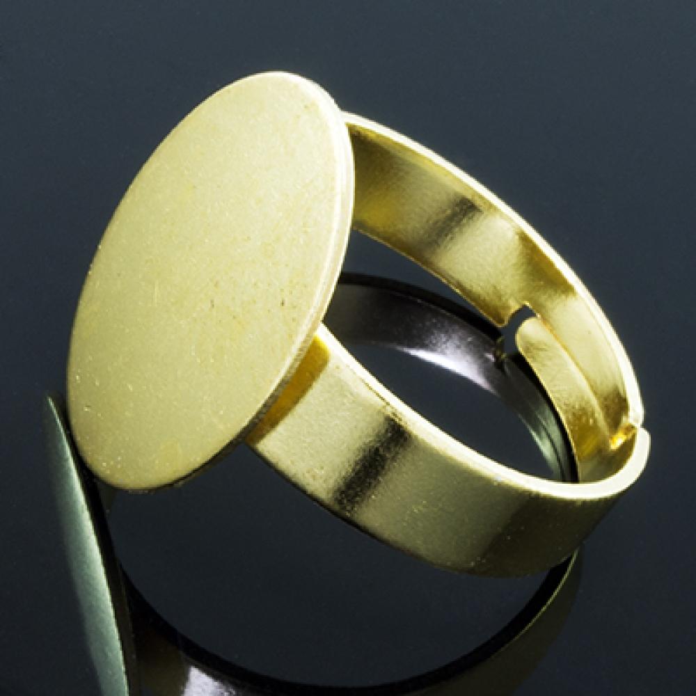 Основа для кольца Латунь под Кабошон 17.5мм, Золото
