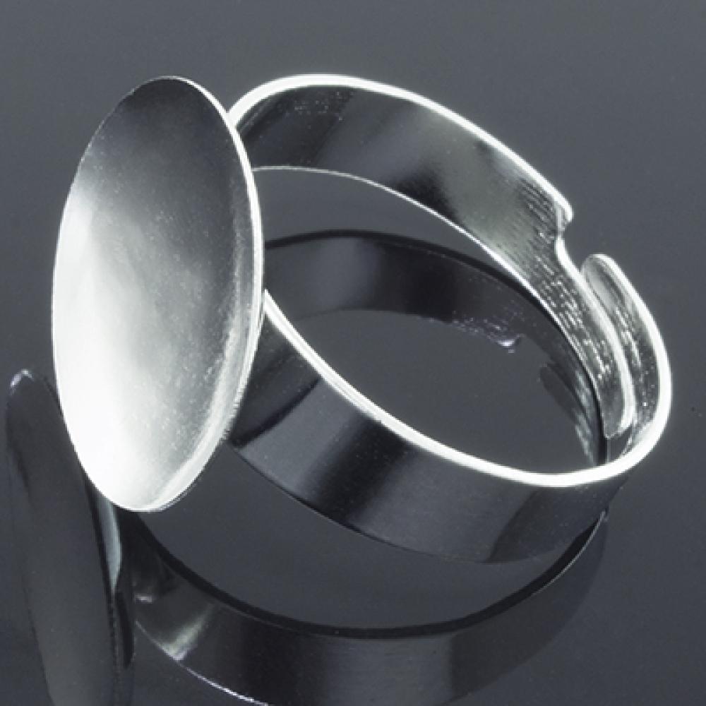 Основа для кольца под Кабошон 12мм, Платина