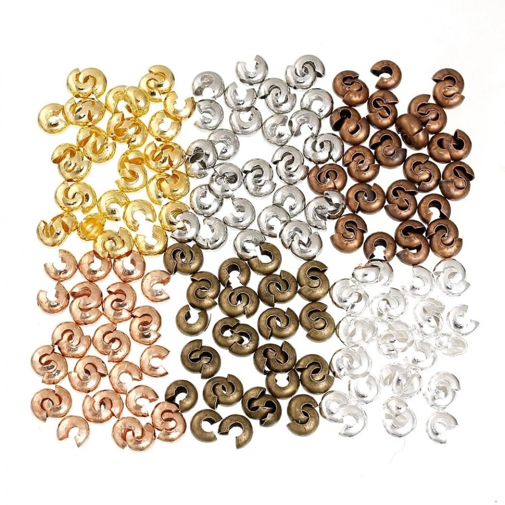 Бусины обжимные металлические Кругл. 4 мм. Цвет: Микс