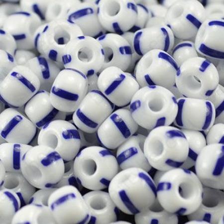 Бисер Preciosa 8/0 цв. 03330, Полосатый бело-синий непрозрачный, упаковка/5 гр.