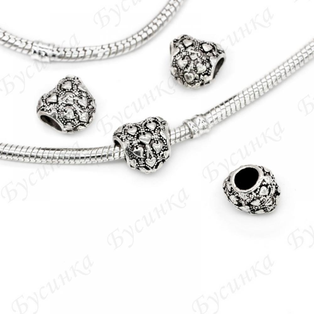 Бусины Шармы металлич. Сердце 11 мм.,вн.Ø 5 мм. Цвет: Античное Серебро