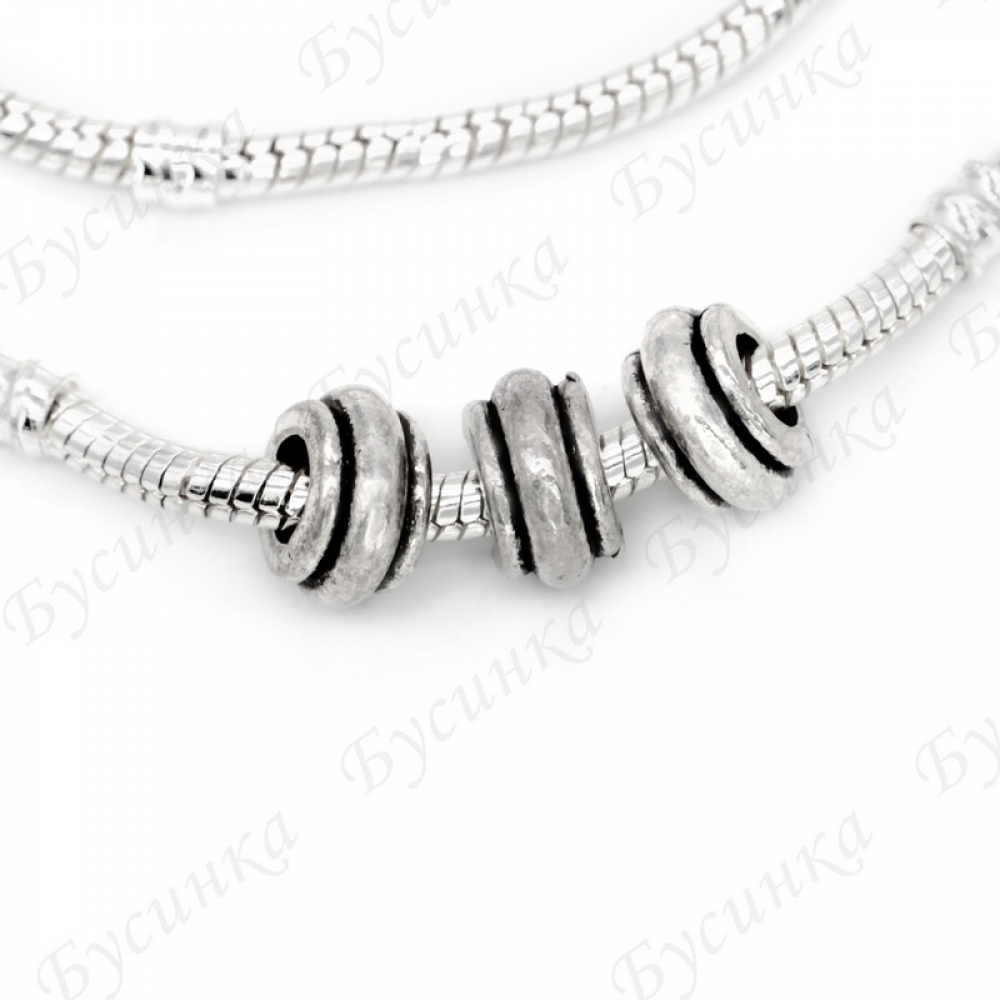 Бусины Шармы металлич. 15х6 мм.,вн. Ø 5 мм. Цвет: Античное Серебро