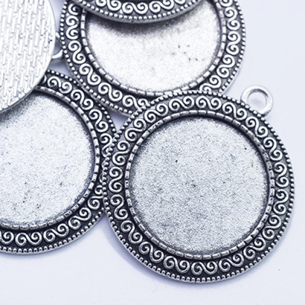 Кулон-Сеттинг под Кабошон кругл 40х35мм, Античное Серебро