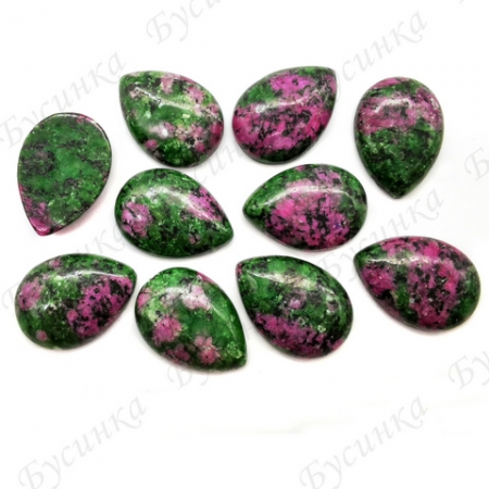 Кабошон Натур Эпидот (Цоизит) капля18х25мм, Розово-Зеленый