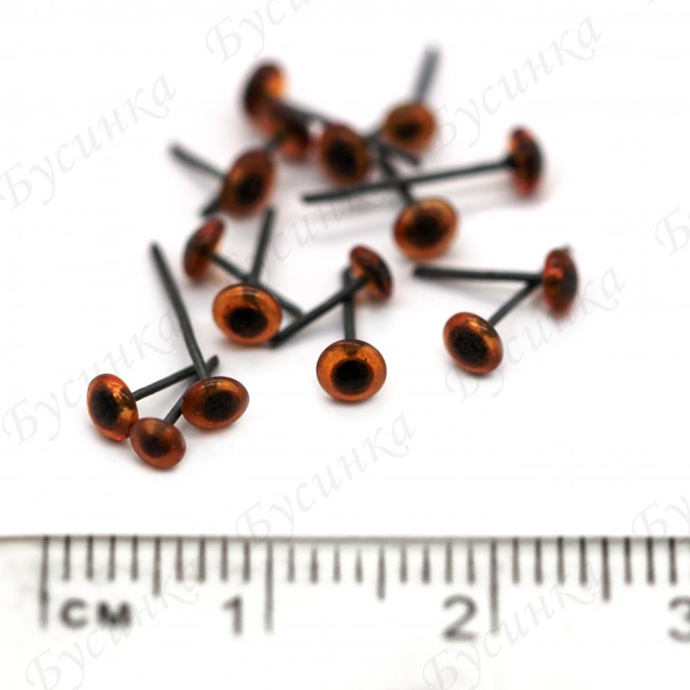 Глазки для мишек стеклянные, цвет: коричневый 3мм. 10шт.