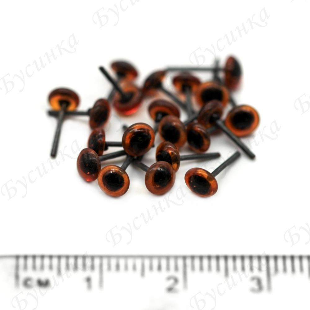 Глазки для мишек стеклянные, цвет: коричневый 4мм. 10шт.