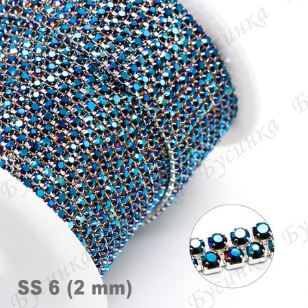 Стразовая Цепь Латунь, Ксталл Джинс-Гальваника, ss6 (2 мм.), Серебро 10 см.