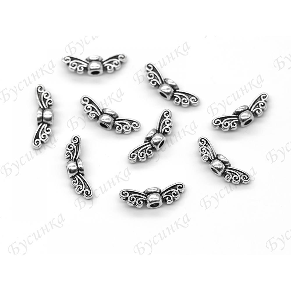 Бусины-разделители мет. Крылья 9х3мм Античное Серебро