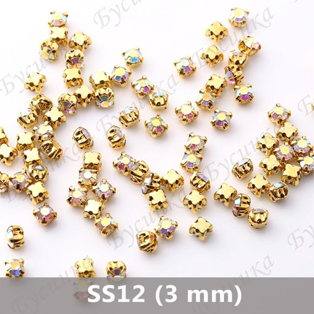 "Стразы в золот.цапах Шатон ""Кристалл-АВ"" 3 мм crystalls"