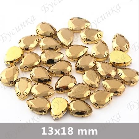 """Стразы в О-цапах Капля """"Gold"""" 13х18мм SWA crystalls"""